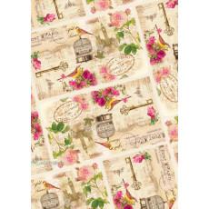 Бумага (меловка) упаковочная цветы Ed-N-292m