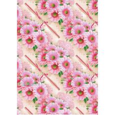 Бумага (меловка) упаковочная цветы Ed-N-300m