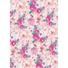 Бумага (меловка) упаковочная цветы Ed-N-301m