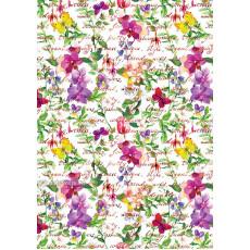 Бумага (меловка) упаковочная цветы Ed-N-303m