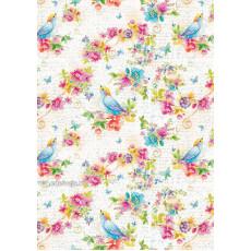 Бумага (меловка) упаковочная цветы Ed-N-304m