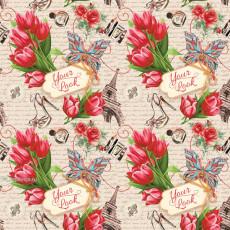Бумага (меловка) упаковочная цветы Ed-N-305m
