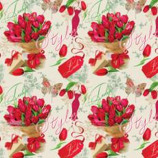 Бумага (меловка) упаковочная цветы Ed-N-317m