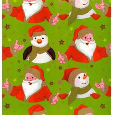 Бумага с пантоном упаковочная новогодняя (зеленая дед мороз) 31-Ed-N-266