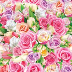 Бумага (меловка) упаковочная женская (розовые розы) Ed-N-369m