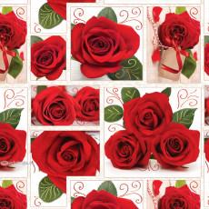 Бумага (меловка) упаковочная (Розы) Ed-N-390m
