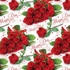 Бумага (меловка) упаковочная (Розы Happy Day) Ed-N-391m