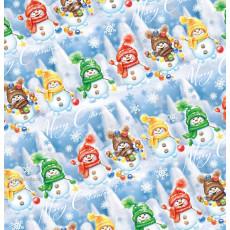 Бумага упаковочная новогодняя (Снеговички) 31-Ed-N-422