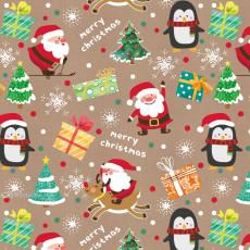 Бумага КРАФТ упаковочная новогодняя (Merry Chrismas) 31-Ed-N-432K