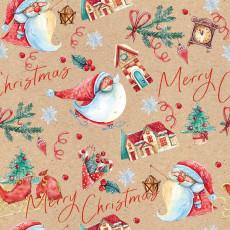 Бумага КРАФТ упаковочная новогодняя (Merry Chrismas) 31-Ed-N-433K