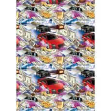 Бумага (меловка) упаковочная (мужская машина, деньги) Ed-N-146m