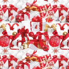 Бумага упаковочная новогодняя (Белая Подарки) 31-Ed-N-375