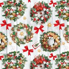 Бумага упаковочная новогодняя (веночки) 31-Ed-N-379