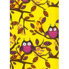 Бумага упаковочная детская (совы, желтая) Ed-N-279