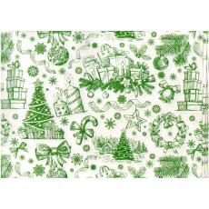 Бумага упаковочная новогодняя (белая зеленые свечки) 31-Ed-N-001