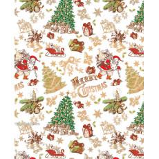Бумага с пантоном упаковочная новогодняя (белая елки) 31-Ed-N-263
