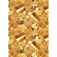 Бумага Крафт темная упаковочная (Золотые монеты) Ed-N-006