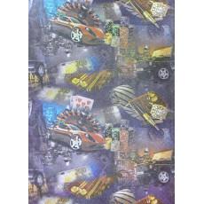 Бумага Крафт темная упаковочная (мужская машины, рулетка) Ed-N-194