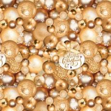 Бумага упаковочная новогодняя (Шары золото) 31-Ed-N-460