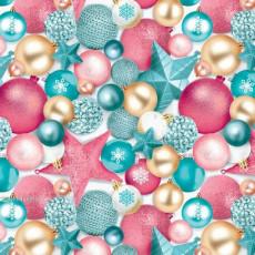 Бумага упаковочная новогодняя (шары цветные) 31-Ed-N-461