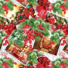 Бумага упаковочная новогодняя (калина) 31-Ed-N-380