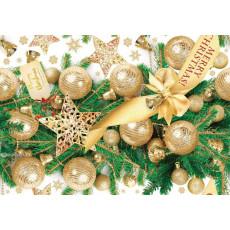 Бумага упаковочная новогодняя (золотые шары) 31-Ed-N-383