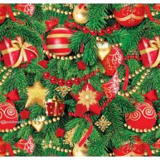 Бумага упаковочная новогодняя (шарики красные) 31-Ed-N-384