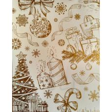 Бумага с пантоном упаковочная новогодняя (свечки белая) 31-Ed-N-152