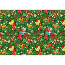 Бумага упаковочная новогодняя (зеленая, сапожки) 31-Ed-N-200