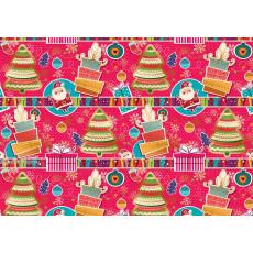 Бумага упаковочная новогодняя крафт светлый (розовая, рисованная) 31-Ed-N-201KR