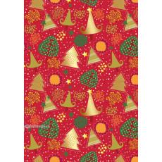 Бумага упаковочная новогодняя (красная, деревья) 31-Ed-N-204