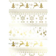 Бумага с пантоном упаковочная новогодняя (олени белая) 31-Ed-N-211