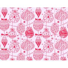 Бумага упаковочная новогодняя (белая шарики) 31-Ed-N-213
