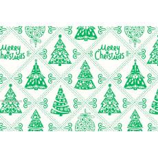 Бумага упаковочная новогодняя (белая елки) 31-Ed-N-214