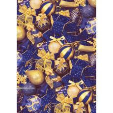 Бумага упаковочная новогодняя (синяя золотые шарики) 31-Ed-N-244
