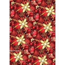 Бумага упаковочная новогодняя (красные шарики) 31-Ed-N-245