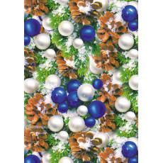 Бумага упаковочная новогодняя (шишки, шарики) 31-Ed-N-251