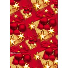 Бумага упаковочная новогодняя (красная, золотые квадраты) 31-Ed-N-252