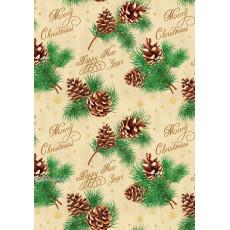 Бумага упаковочная новогодняя (Merry Christmas, шишки) 31-Ed-N-255