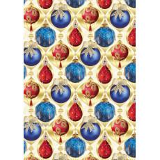 Бумага упаковочная новогодняя (синие и красные шары) 31-Ed-N-256