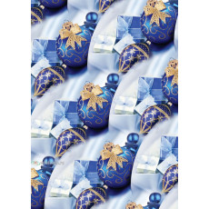 Бумага упаковочная новогодняя (синие шары с золотом) 31-Ed-N-258