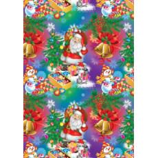 Бумага упаковочная новогодняя крафт светлый (сниговики) 31-Ed-N-046KR