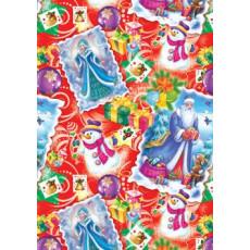 Бумага упаковочная новогодняя крафт светлый (снигурочка) 31-Ed-N-082KR