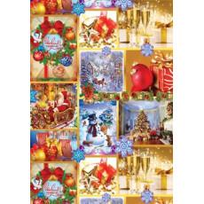 Бумага с пантоном упаковочная новогодняя (картинки рождества) 31-Ed-N-087