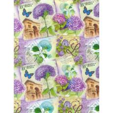Бумага (меловка) упаковочная цветы Ed-N-299m