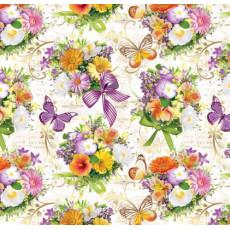 Бумага (меловка) упаковочная (цветы , бантики фиолетовые) Ed-N-142m