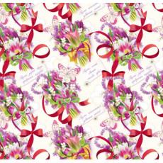 Бумага (меловка) упаковочная (цветы , бантики красные) Ed-N-143m