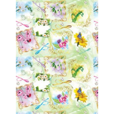 Бумага (меловка) упаковочная (цветы в рамках) Ed-N-028m