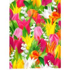 Бумага (меловка) упаковочная тюльпаны Ed-N-308m