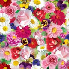 Бумага (меловка) упаковочная (цветы разные) Ed-N-116m